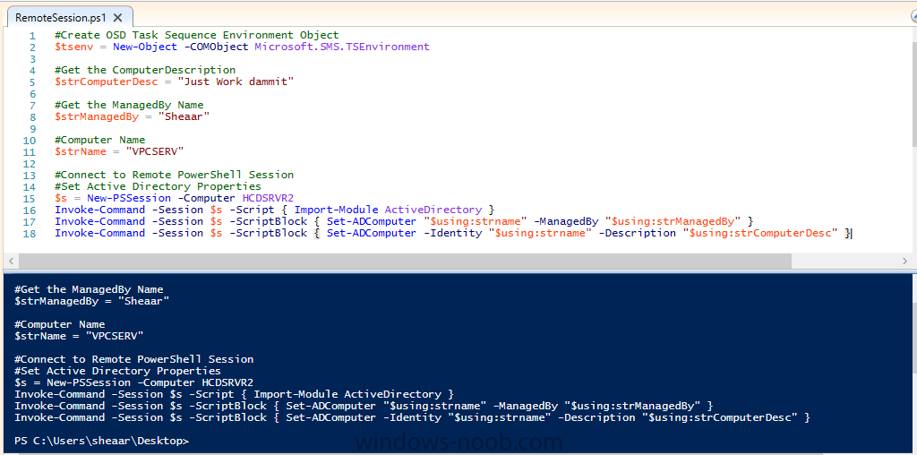 Using Powershell to apply Task Sequence variables