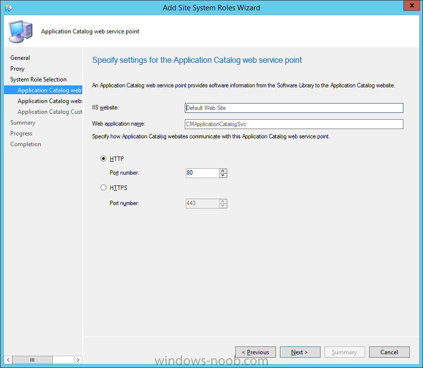 specify settings for the application catalog web service point.png