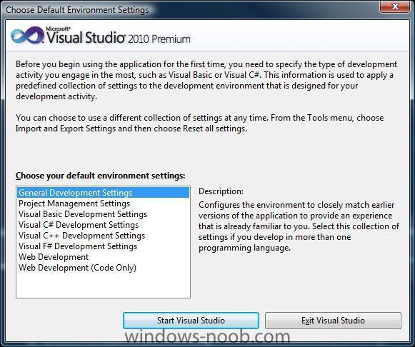 vs2010 choose your default environment settings.jpg