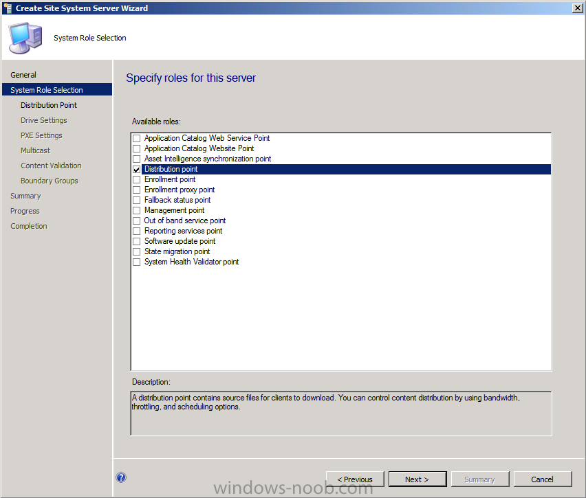 How can i setup a distribution point in configmgr 2012 on for Windows distribution