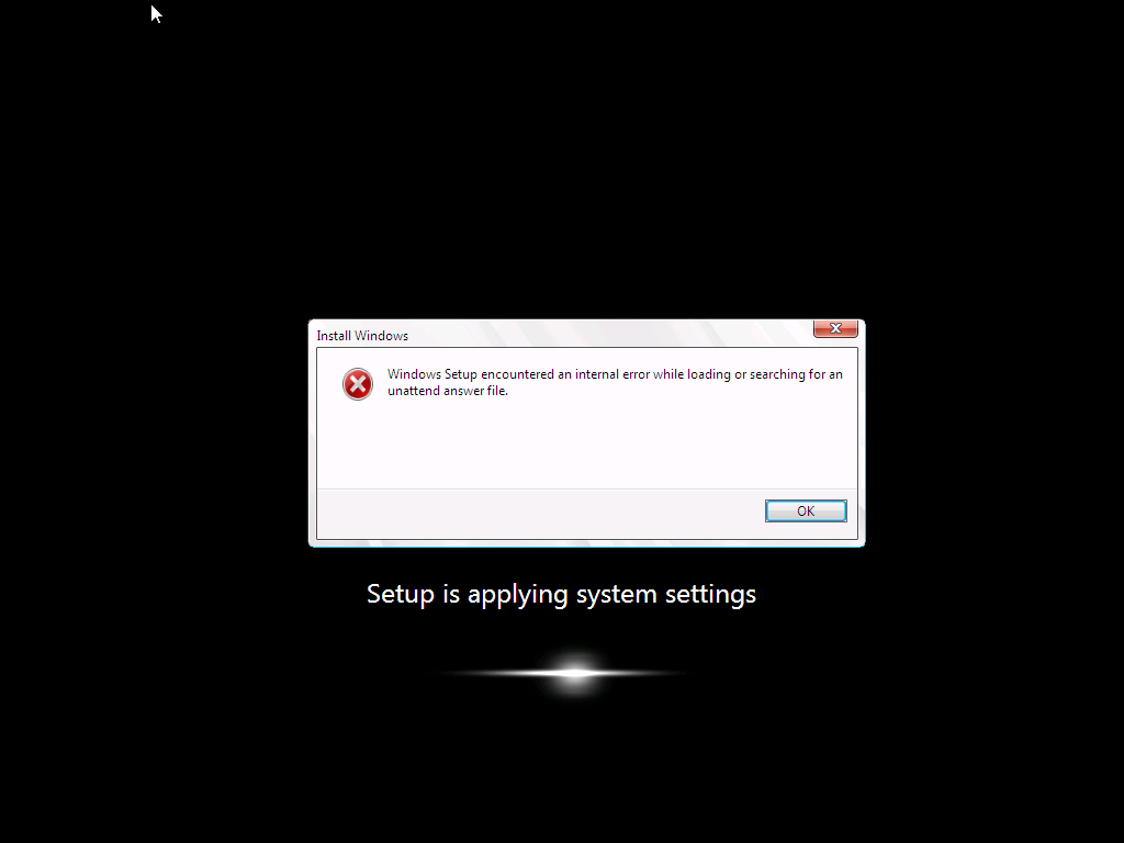 windows setup encountered an internal error while loading or searching for an unattend answer file.png