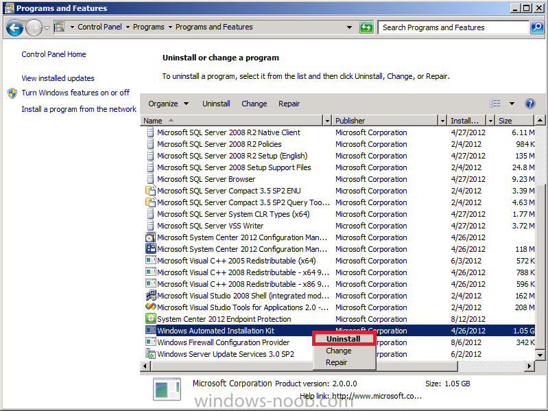 Uninstall the Windows Automated Installation Kit.png