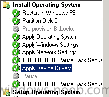 How can I pause a task sequence in System Center 2012 Configuration