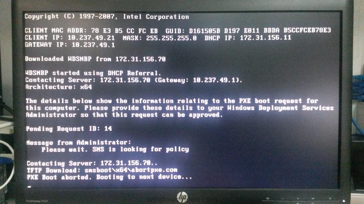 tftp pxe boot aborted