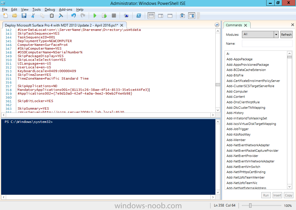 How can I use PowerShell to deploy Windows 10 x64 to the Microsoft