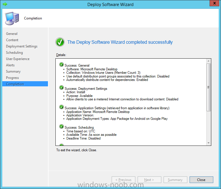 Deploy Microsoft Remote Desktop to Windows Intune Users is complete.png