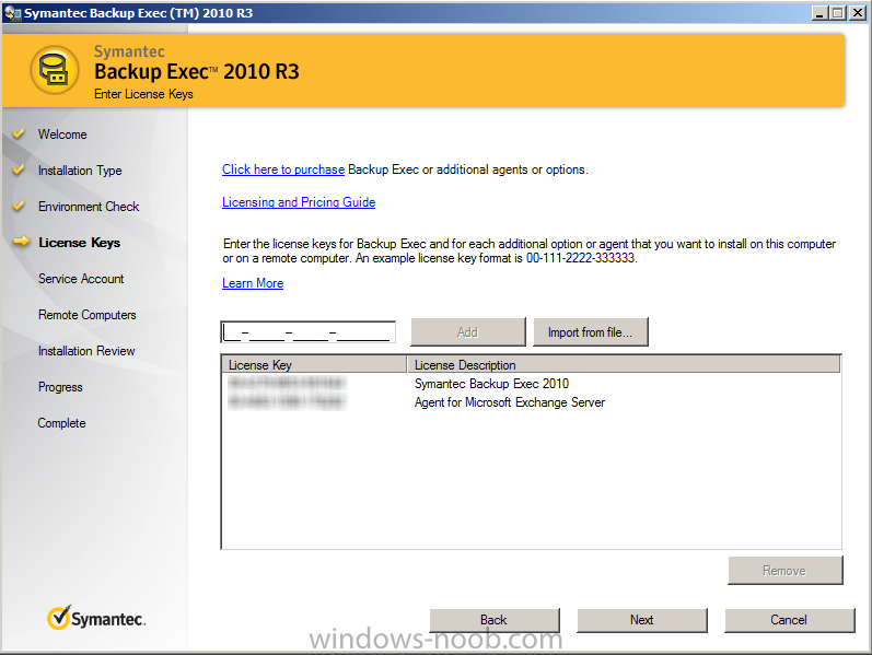 Install and create backup jobs with Symantec Backup Exec