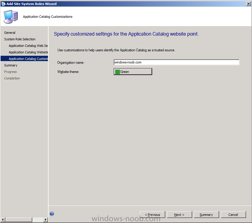 specify customized settings for the application catalog website point.png