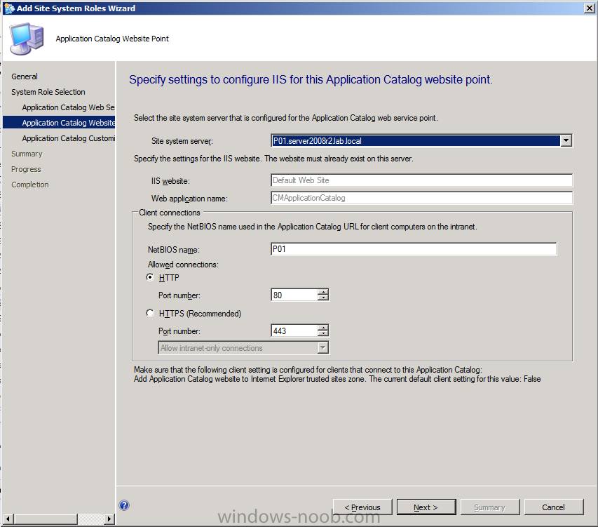 specify settings to configure IIS for this application catalog website point.png