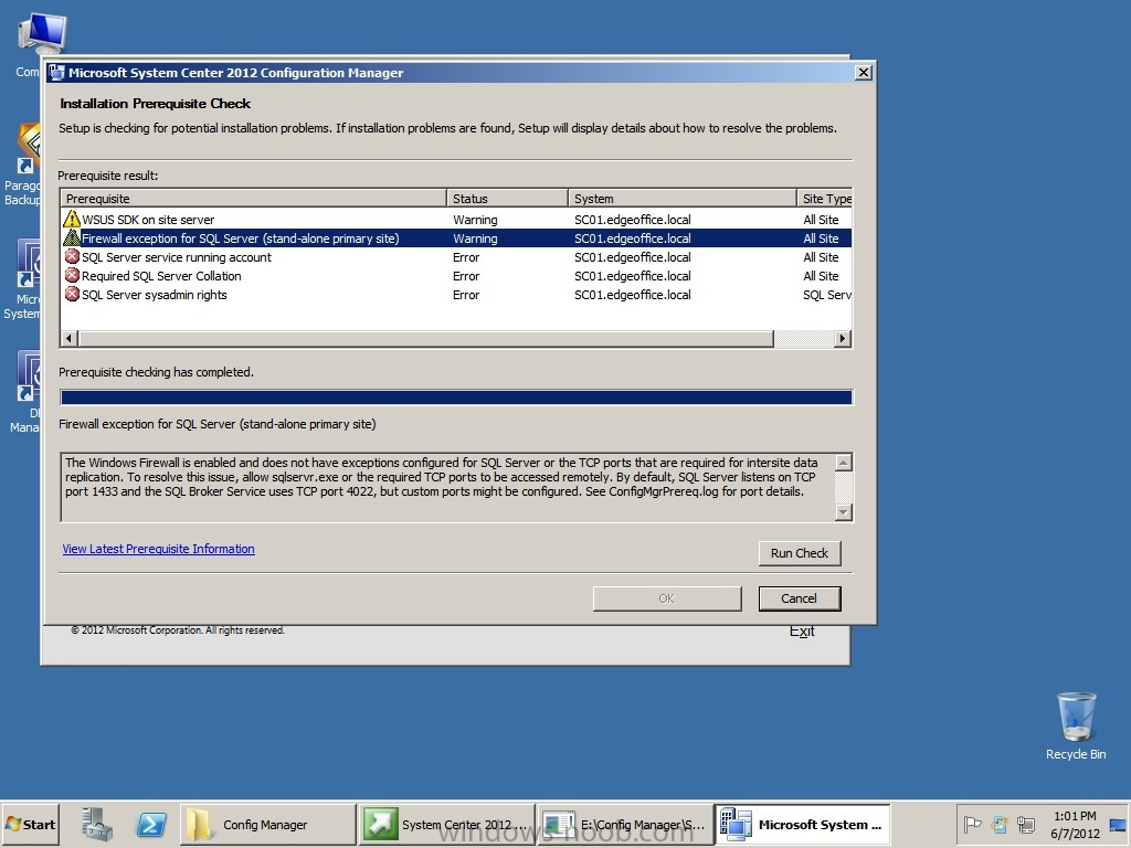 Screen shot of SCCM pre-requisites failures.jpg
