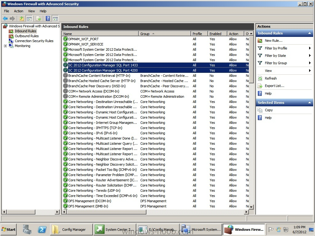 Firewall screen shot of Windows firewall exceptions for SQL ports.jpg