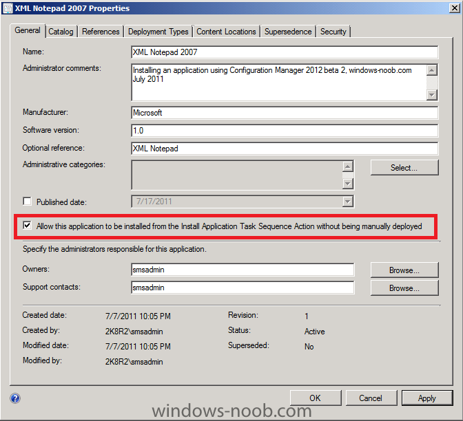 allow this application to be installed from the Install Application Task Sequence Action without being manually deployed.png