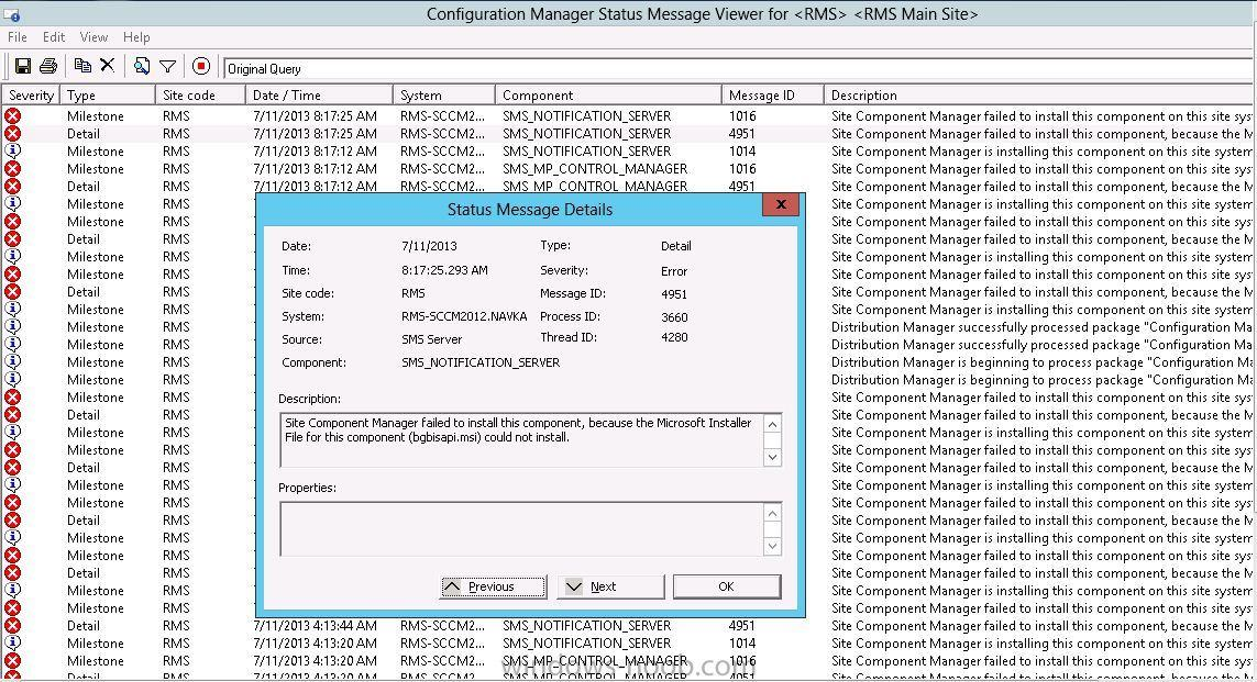 SCCM 2012 installation - SMS_MP_CONTROL_MANAGER failed to
