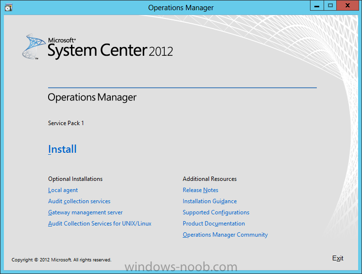 SCOM 2012 SP1 in a LAB – Installation (Part E – Install SCOM