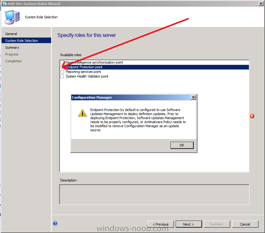 configuration manager pop up for endpoint protection point role.png