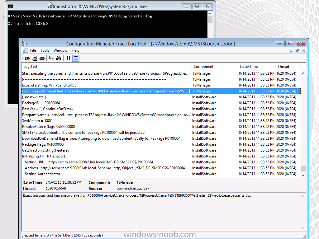 How can I pause a task sequence in System Center 2012