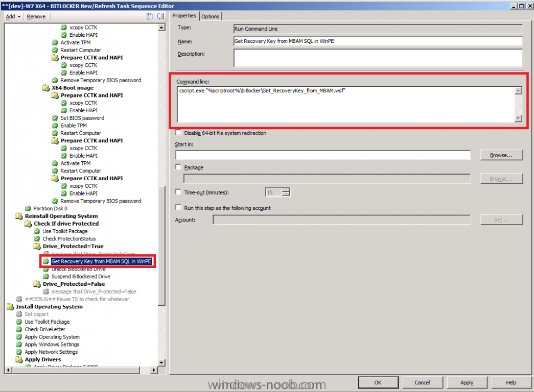 get recovery key from mbam sql in winpe step.png