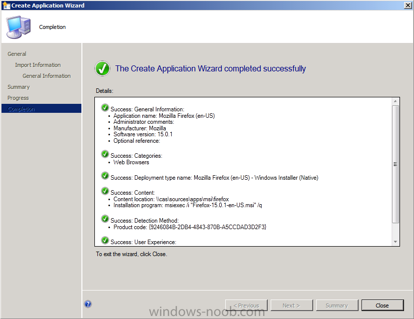 The Create Application Wizard completed successfully.png