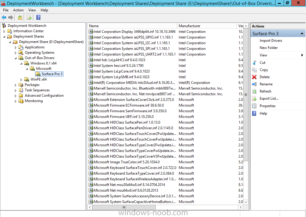 Surface Pro 3 drivers in the Deployment Workbench.png