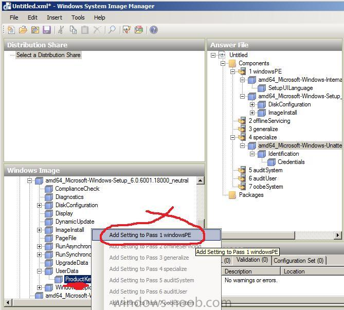 how can I add the product key using Windows SIM - Windows