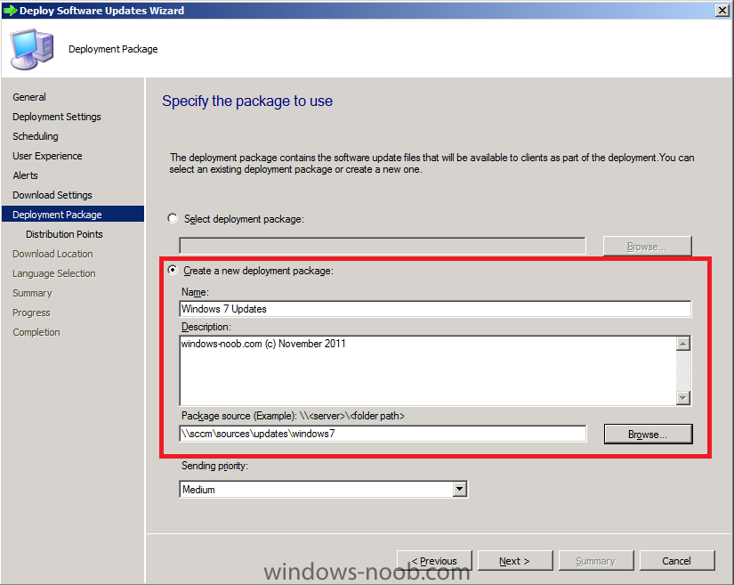 create a new deployment package windows 7 updates.png