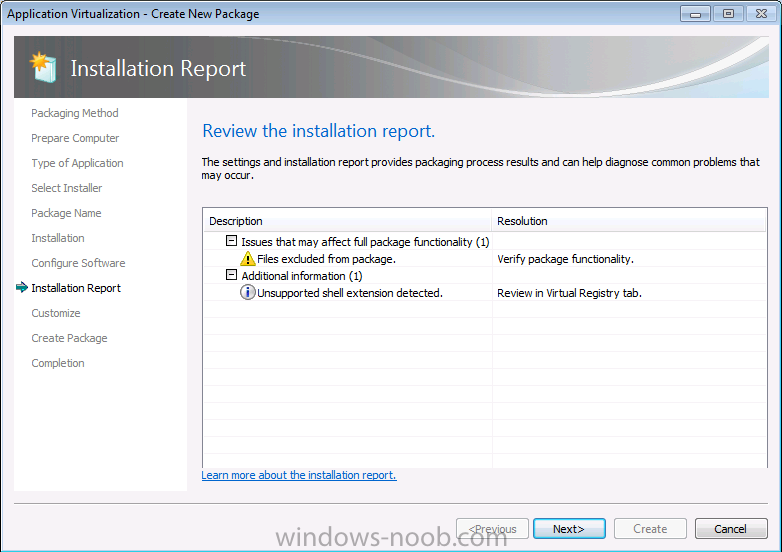 review the installation report.png