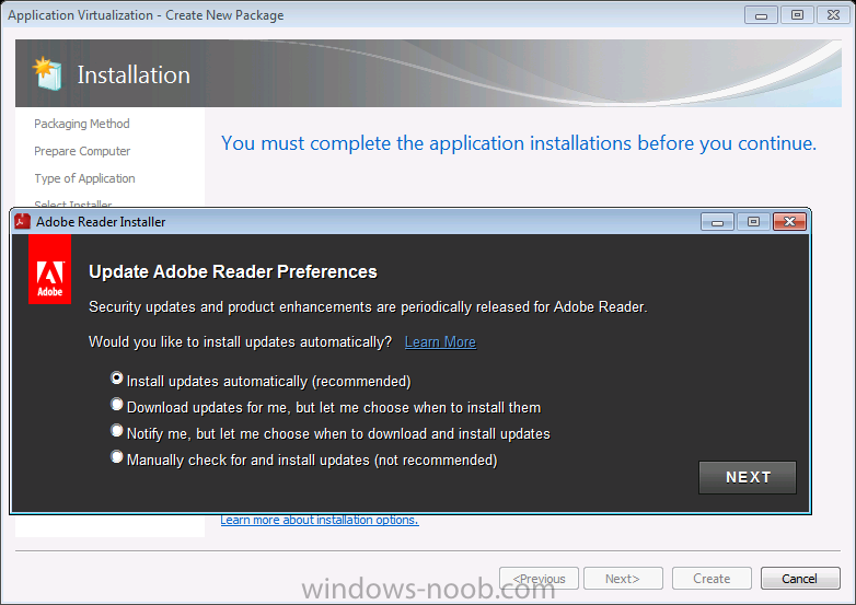you must complete the application installations before you continue.png