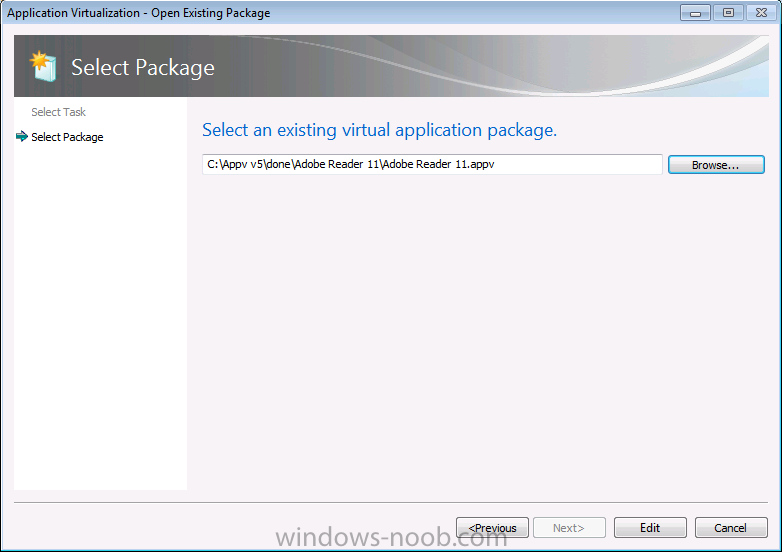 select existing virtual application package.png