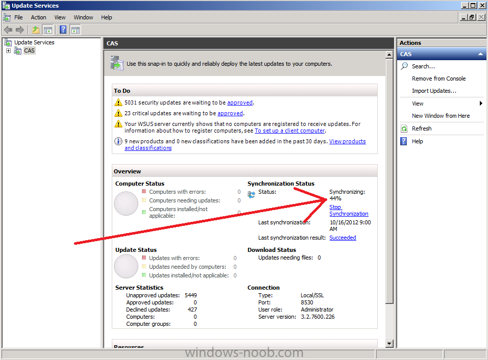 sync status in Windows Server Update Services console.png