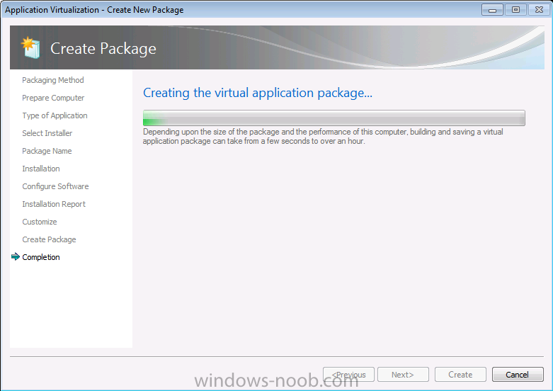 creating the virtual application package.png