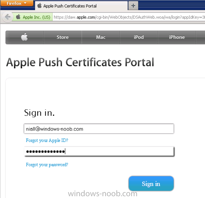 sign in with your Apple ID to the Apple Push Certificates Portal with FireFox.png