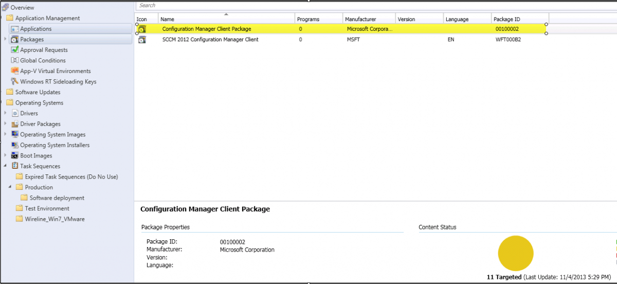 Configuration Manager Client Package keeps updating
