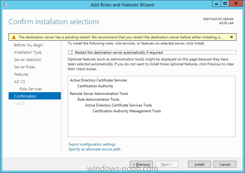 Active Directory Certificate Services Installation Windows Server