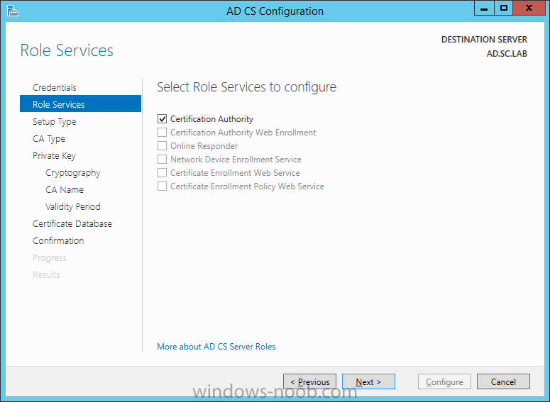 Active Directory Certificate Services Configuration