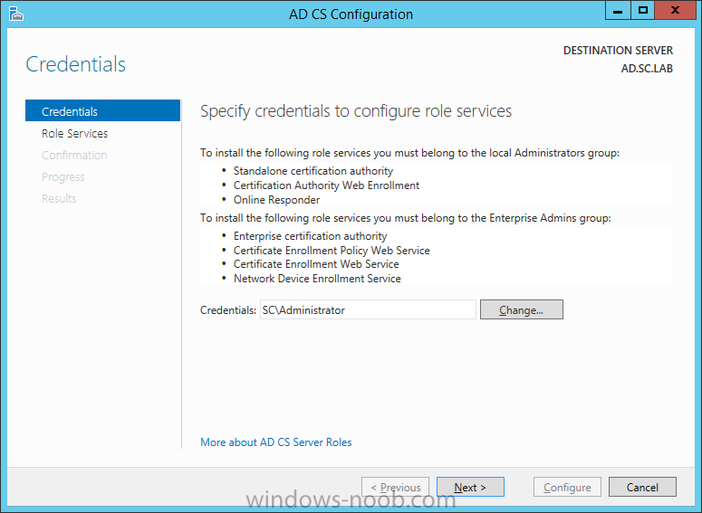 Active Directory Certificate Services Configuration Windows