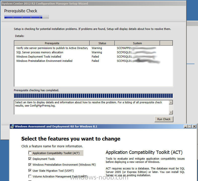 SCCM 2012 R2 - New Standalone Install Failure with ADK 8 1