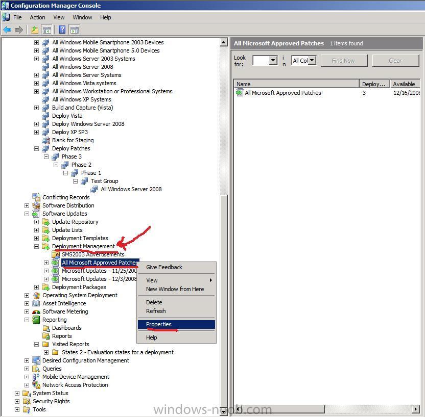 Patch management process using sccm