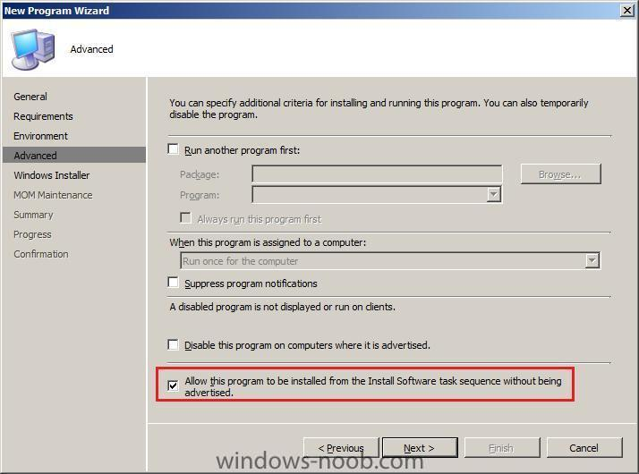 allow this program to be installed from the Install software task sequence without being advertised.jpg