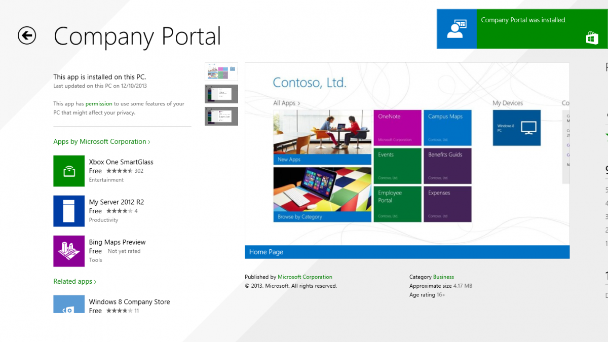 The company portal was Installed.png