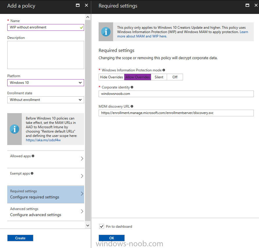 Using Intune to enable WIP to protect Enterprise data on