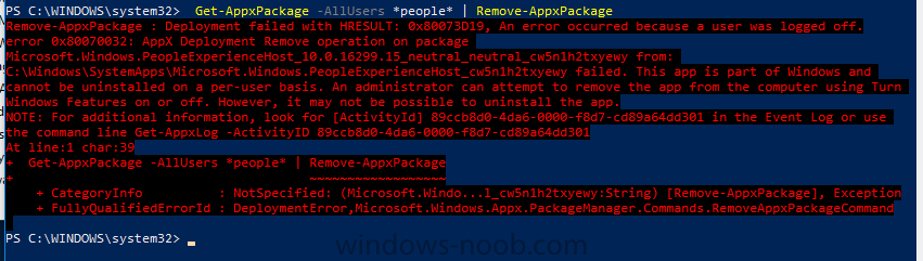 1709 Removing People AppxPackage - System Center Configuration