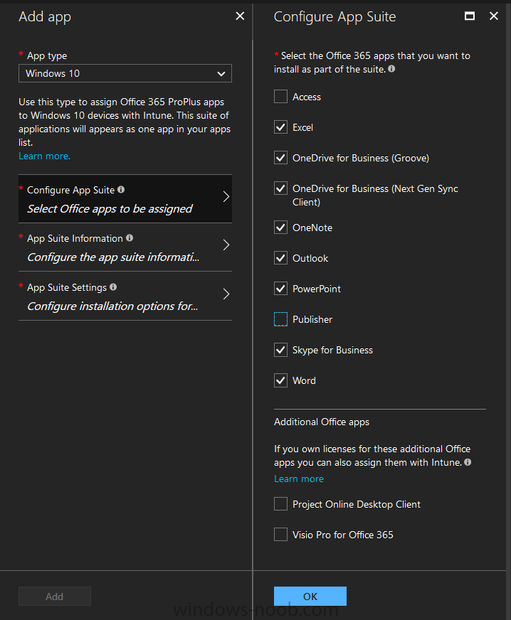 How can I customize the start screen in Windows 10 using Intune