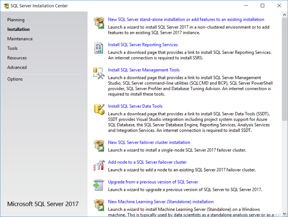 sql server installation center - installation.png
