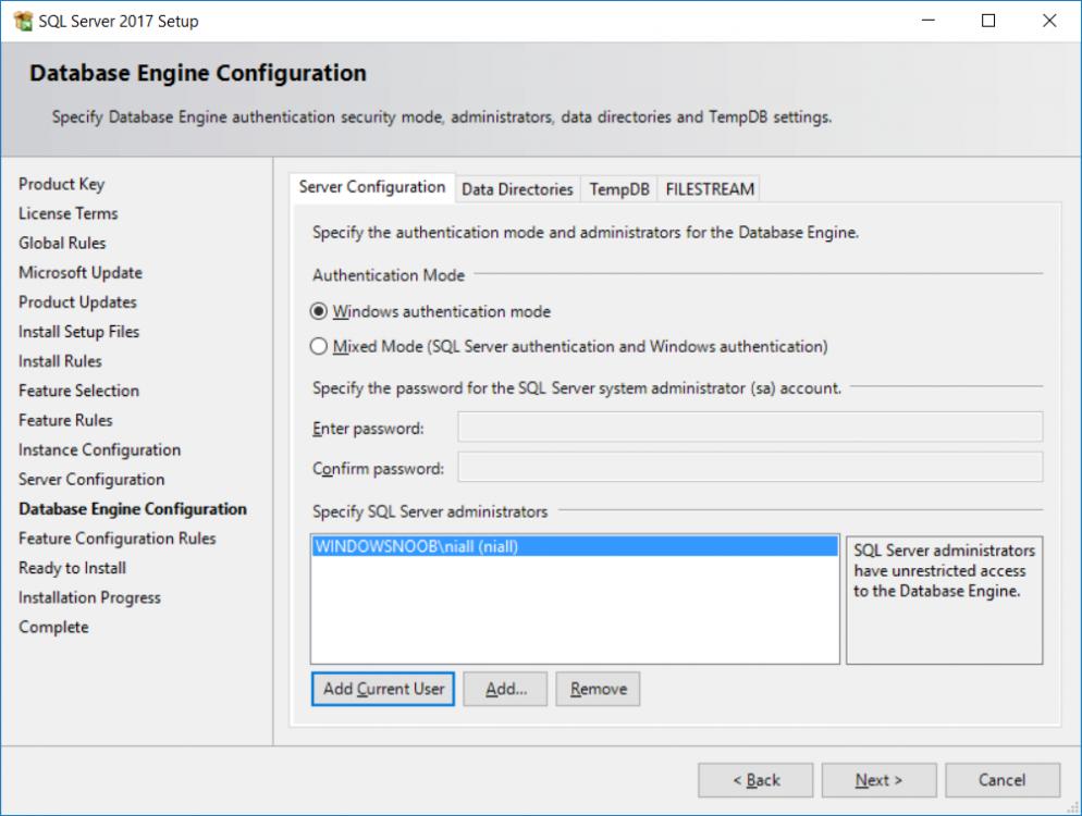 sql server installation - Server configuration.png