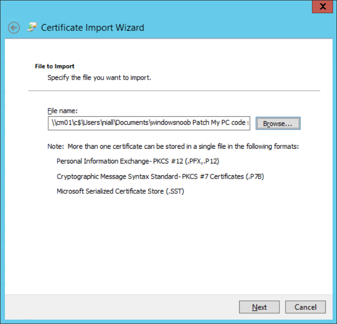importing the certificate.png