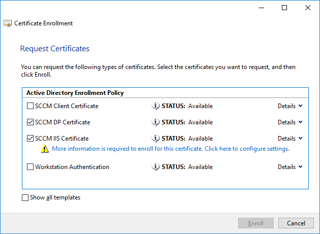 sccm dp certificate and sccm iis certificate.png