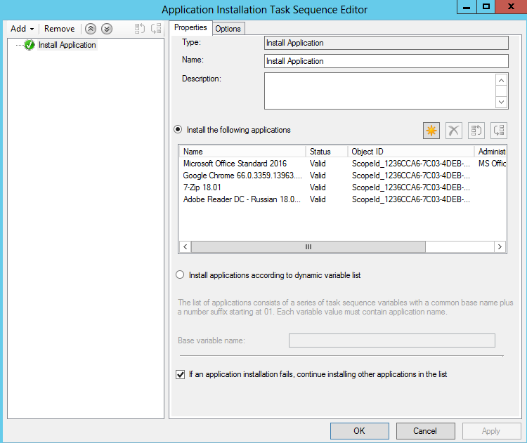 Installing application task sequence in OSD - Configuration