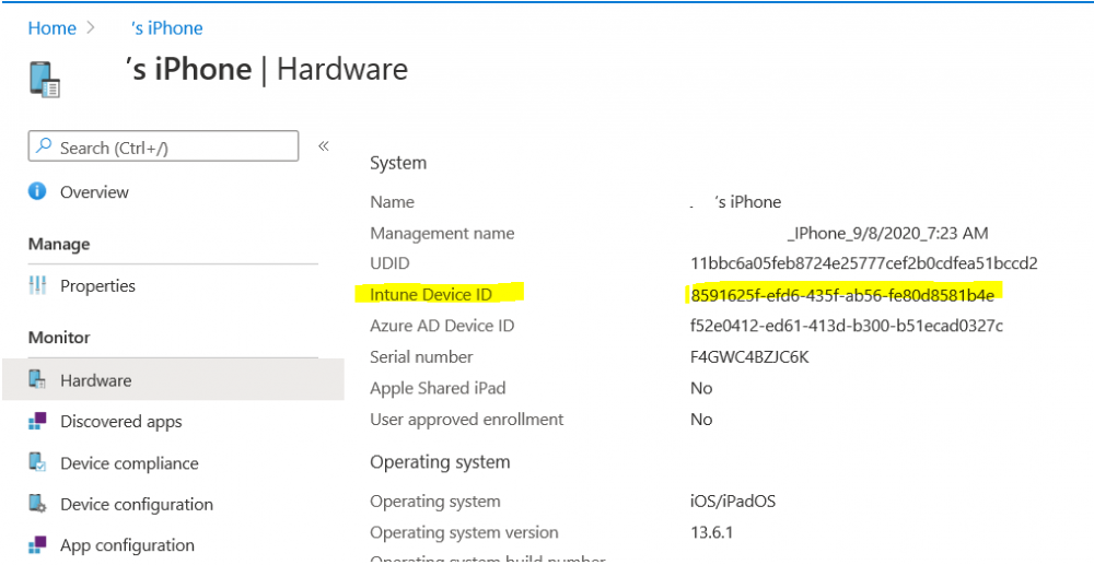 intune device id is the object id in the audit report.png