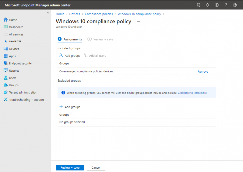 assign compliance policy to configmgr synced aad group.png