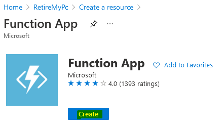 Create function app.PNG